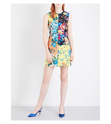DIANE VON FURSTENBERG Floral patchwork-printed wool and silk-blend dress (Bournier+ylw/brn+bl