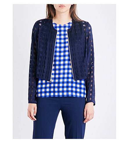 DIANE VON FURSTENBERG Cropped fitted jacquard jacket (Midnight/midnight