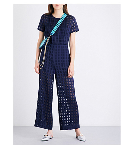 DIANE VON FURSTENBERG Cropped flared jacquard jumpsuit (Midnight/midnight