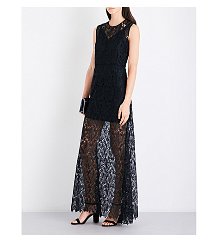 DIANE VON FURSTENBERG Flared floral-lace maxi dress (Black