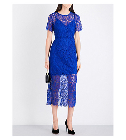 DIANE VON FURSTENBERG Fitted floral-lace midi dress (Klein+blue/klein+blue