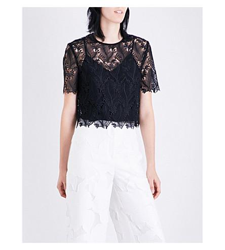 DIANE VON FURSTENBERG Cropped floral-lace top (Black/black