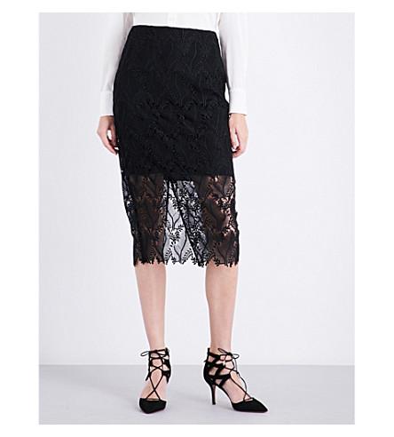 DIANE VON FURSTENBERG Overlay lace pencil skirt (Black