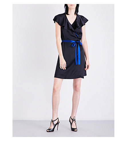 DIANE VON FURSTENBERG Ruffled satin wrap dress (Black/klein+blue