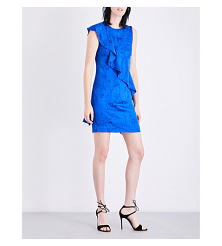 DIANE VON FURSTENBERG Ruffled devoré mini dress (Klein+blue