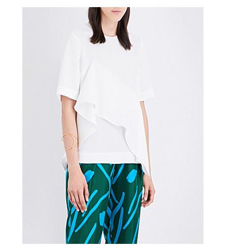 DIANE VON FURSTENBERG Ruffle-front silk-crepe blouse (White
