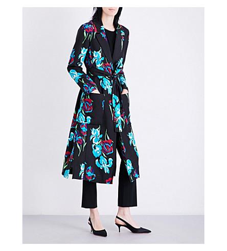 DIANE VON FURSTENBERG Floral-print silk-gabardine wrap coat (Ainsworth+black