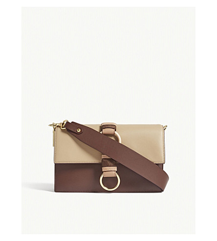 DIANE VON FURSTENBERG Bonne Journée O-Ring shoulder bag (Sable+mohogany