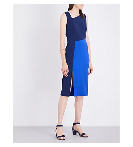 DIANE VON FURSTENBERG Asymmetric stretch-wool midi dress (Midnight/klein+blue