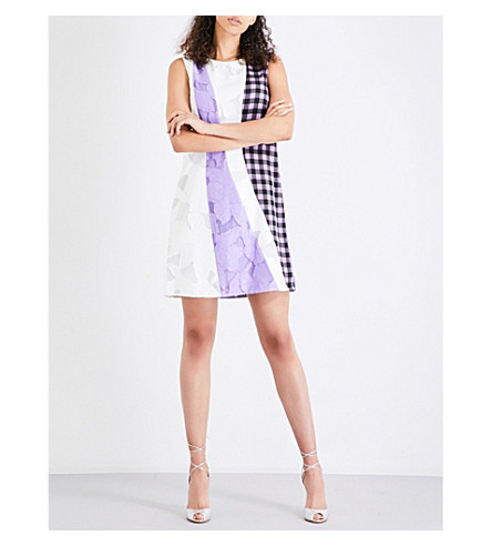 DIANE VON FURSTENBERG A-line jacquard and stretch-silk dress (White/violet