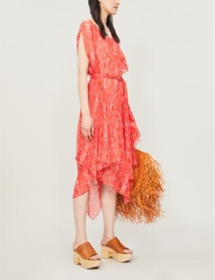 Serena snake-print silk-crepe midi dress
