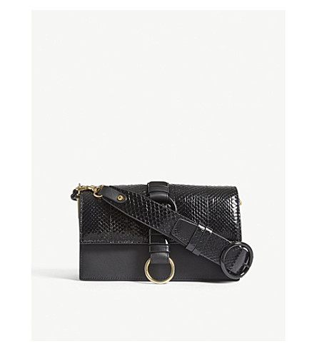 DIANE VON FURSTENBERG Bonne Jornee leather shoulder bag (Black