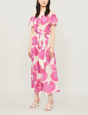 Helena floral-print cotton and silk-blend jumpsuit