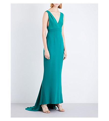DIANE VON FURSTENBERG V-neck silk gown (Green