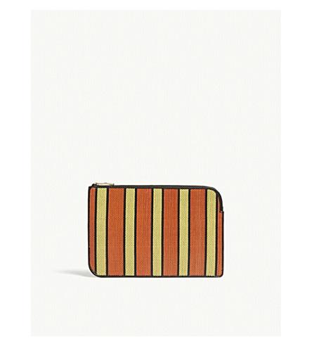 DIANE VON FURSTENBERG Striped raffia medium pouch (Orange+yellow+black