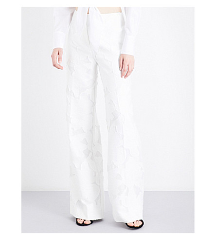 DIANE VON FURSTENBERG Devoré floral-pattern high-rise trousers (White
