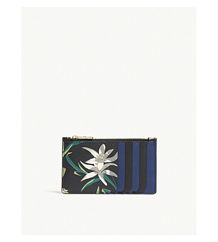 DIANE VON FURSTENBERG Floral print leather card case (Harlow+black