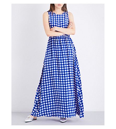 DIANE VON FURSTENBERG Gingham-print sleeveless silk-crepe de chine maxi dress (Cossier+large+klein+blue