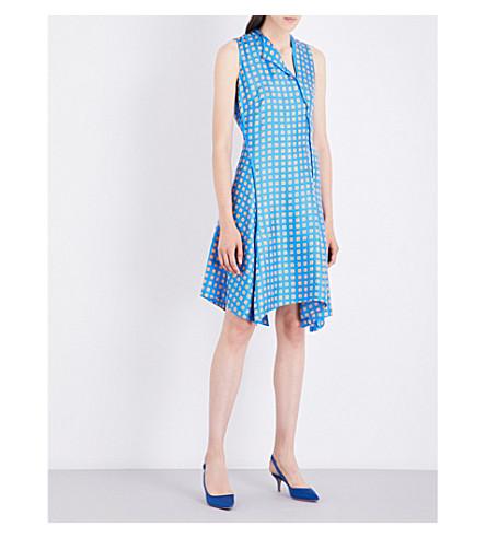 DIANE VON FURSTENBERG Sleeveless bias silk dress (Mura+tile+blue/tile+blue