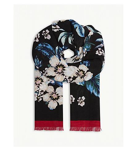 DIANE VON FURSTENBERG Bolan 花卉亚麻混纺围巾 (Bolan + 黑色