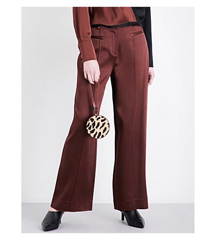 DIANE VON FURSTENBERG Wide-leg satin trousers (Chestnut