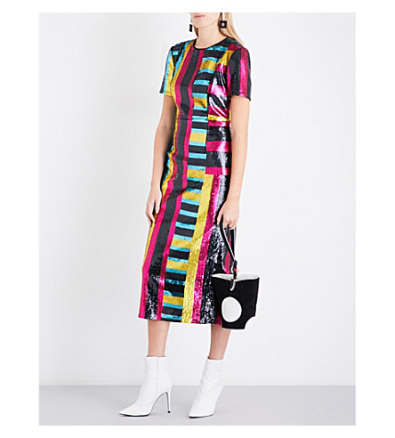 DIANE VON FURSTENBERG Striped sequinned midi dress (Saxon+stripe+lemon+black