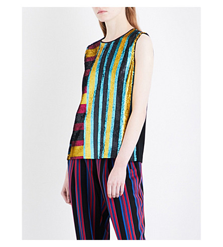 DIANE VON FURSTENBERG Sleeveless sequinned crepe top (Saxon+stripe+lemon+black
