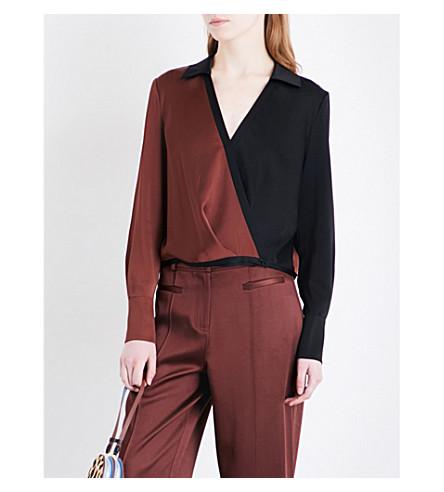 DIANE VON FURSTENBERG Crossover satin blouse (Chestnut+black