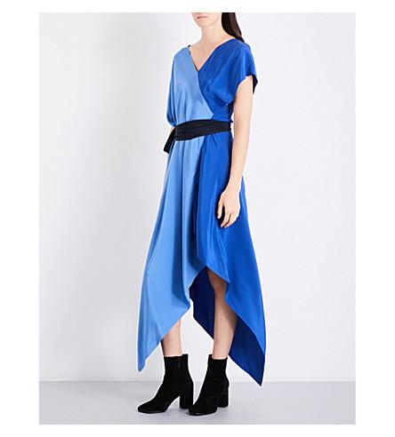DIANE VON FURSTENBERG Asymmetric silk-crepe midi wrap dress (Denim+royal+alex+navy