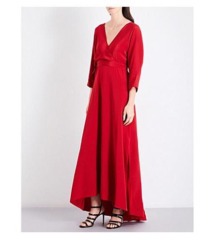 DIANE VON FURSTENBERG Batwing-sleeve silk-crepe gown (Rust