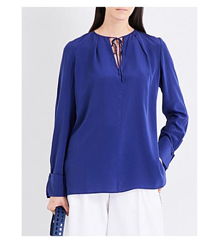 DIANE VON FURSTENBERG Keyhole silk-crepe de chine blouse (Deep+viloet