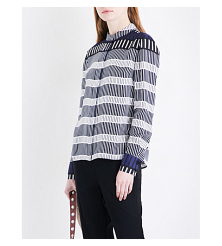 DIANE VON FURSTENBERG Striped silk-twill shirt (Rodin+stripe+deep+voilet
