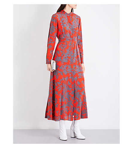 DIANE VON FURSTENBERG Floral-print silk-crepe maxi shirt dress (Brulon+bright+red