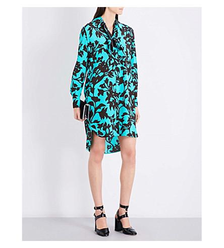 DIANE VON FURSTENBERG Floral-print silk-crepe shirt dress (Brulon+aquamamrine