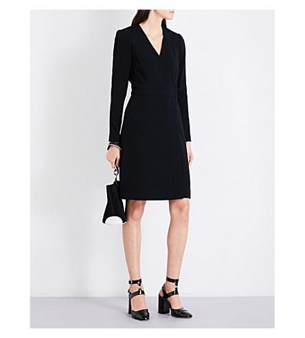 DIANE VON FURSTENBERG Long-sleeved crepe wrap dress (Black