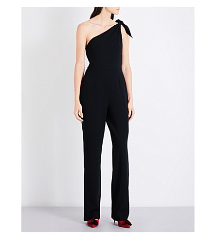 DIANE VON FURSTENBERG One-shoulder knot crepe jumpsuit (Black