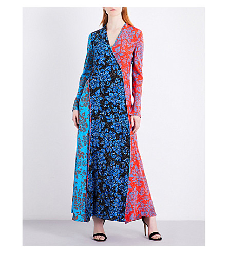 DIANE VON FURSTENBERG Panelled bias silk maxi dress (Callow+cerulean+black