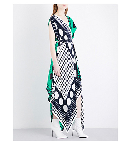 DIANE VON FURSTENBERG Scarf-print silk-crepe maxi dress (Brunel+evergreen