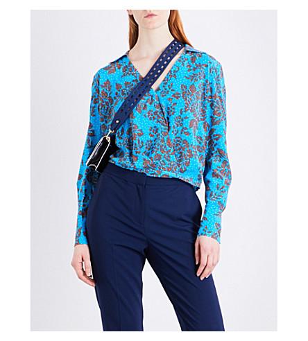 DIANE VON FURSTENBERG Crossover silk blouse (Callow+cerulean