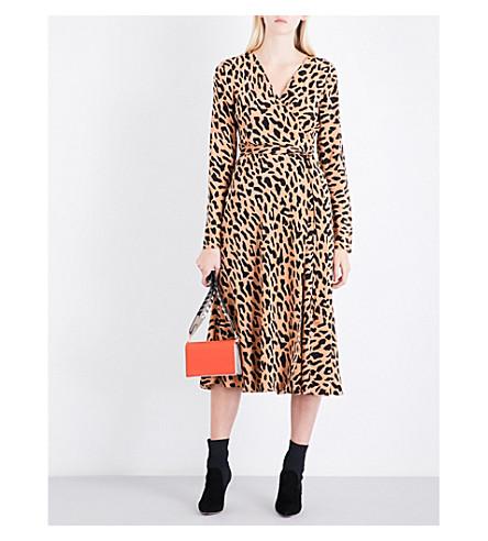 DIANE VON FURSTENBERG Leopard silk wrap dress (Belmont+camel