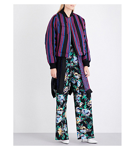 DIANE VON FURSTENBERG Boxy striped twill bomber jacket (Black+royal+bright+red