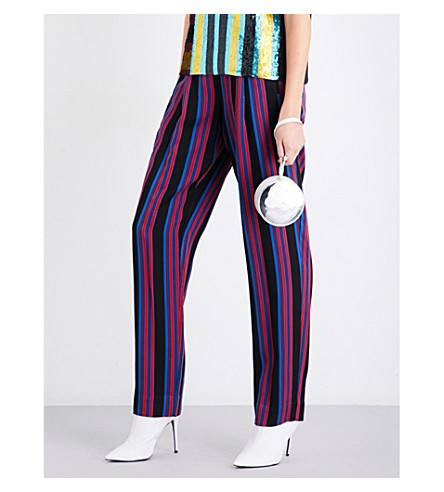 DIANE VON FURSTENBERG Striped straight gabardine trousers (Black+royal+bright+red