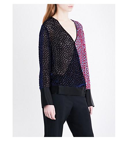 DIANE VON FURSTENBERG V-neck velvet devoré blouse (Deep+violet+multi