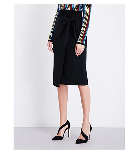 DIANE VON FURSTENBERG Knot-tie high-rise stretch-wool pencil skirt (Black