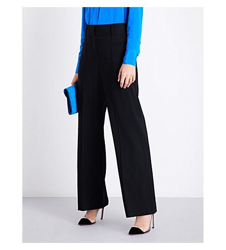 DIANE VON FURSTENBERG High-rise wide stretch-wool trousers (Black