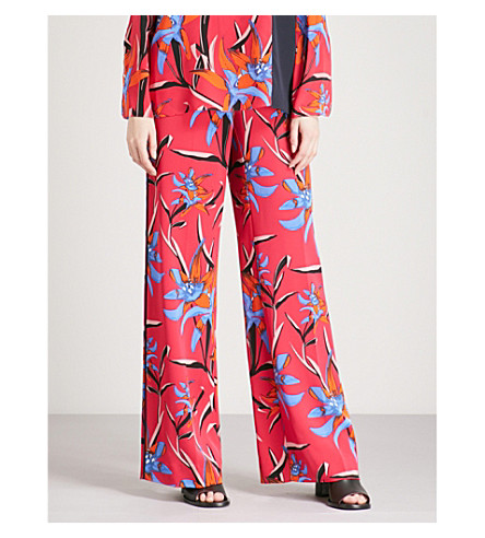 DIANE VON FURSTENBERG Printed wide-leg high-rise crepe palazzo trousers (Harlow+magenta
