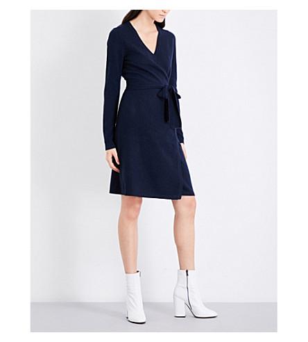 DIANE VON FURSTENBERG Wrap-over cashmere dress (Alexander+navy