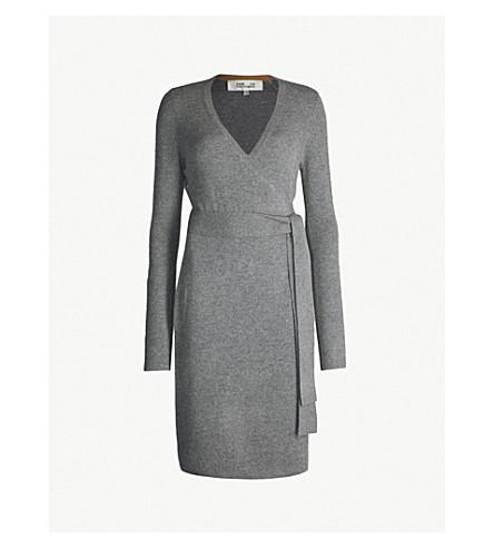 DIANE VON FURSTENBERG Wrap-over cashmere dress (Charcoal melange