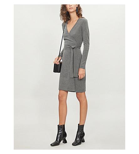 DIANE VON FURSTENBERG Wrap-over cashmere dress (Charcoal+melange
