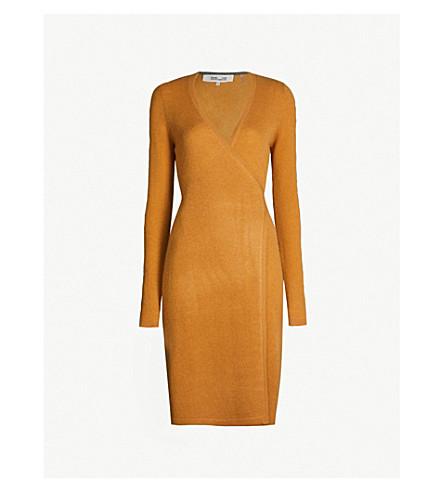 DIANE VON FURSTENBERG Wrap-over cashmere dress (Honey